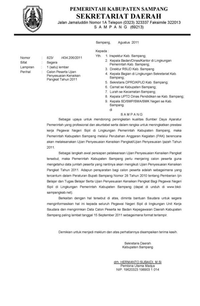 Surat Pengantar Penyesuaian Ijasah Dan Tugas Belajar Bkpsdm Kab Sampang